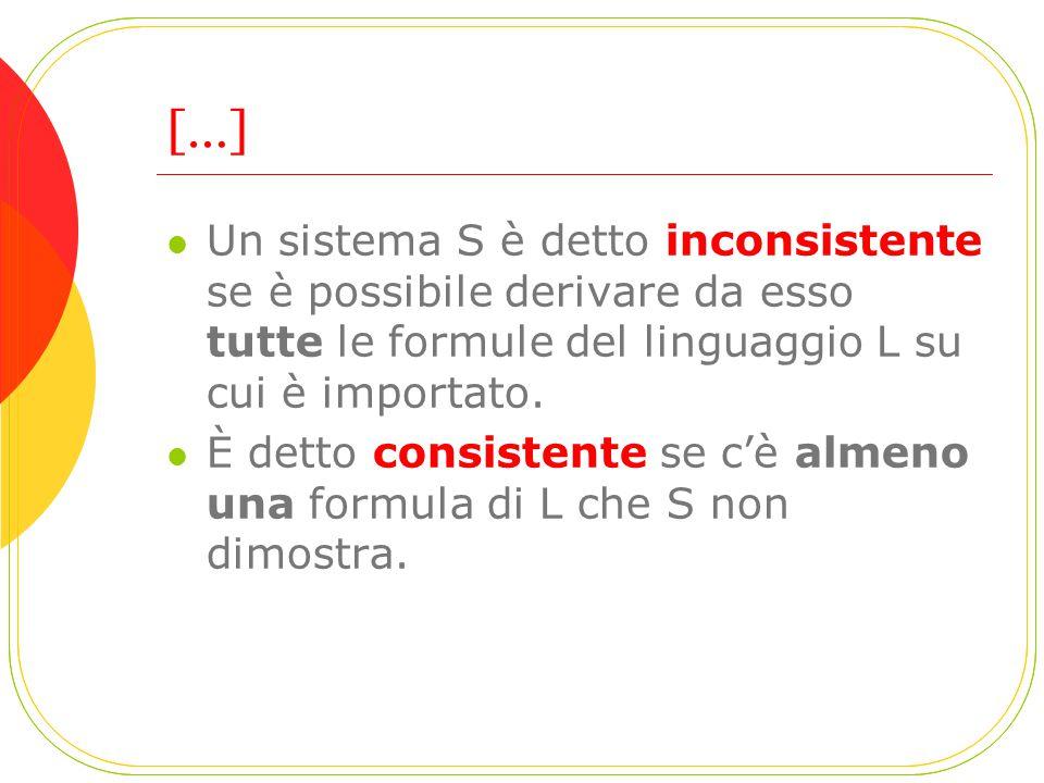 […] Un sistema S è detto inconsistente se è possibile derivare da esso tutte le formule del linguaggio L su cui è importato.